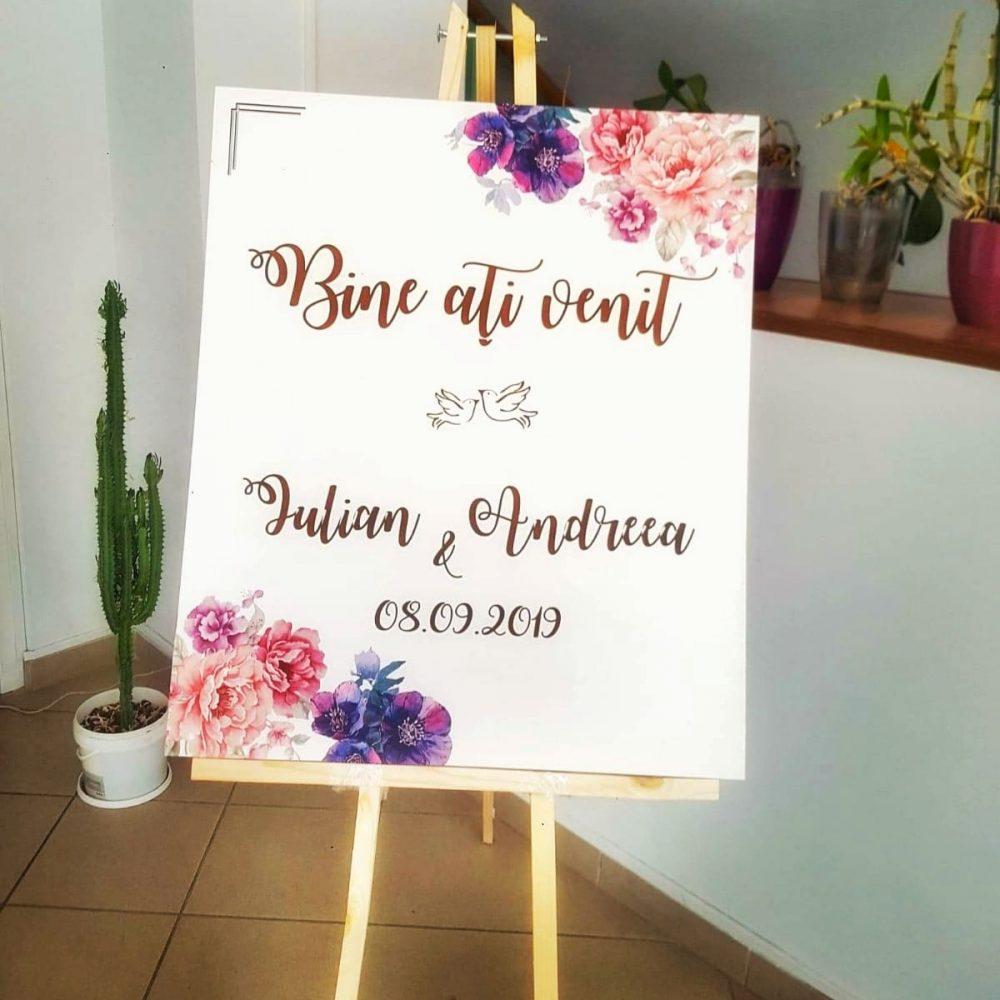 panou pancarta intampinare invitati bine ati venit nunta