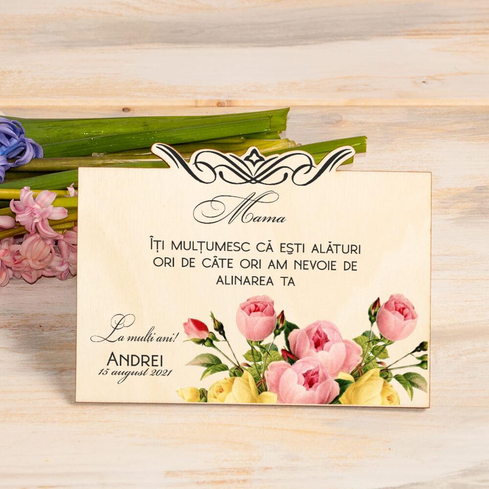 felicitari personalizate din lemn imprimata