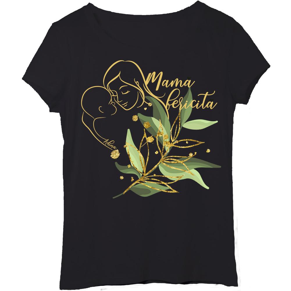 Tricou peronalizat negru pentru mama fericita