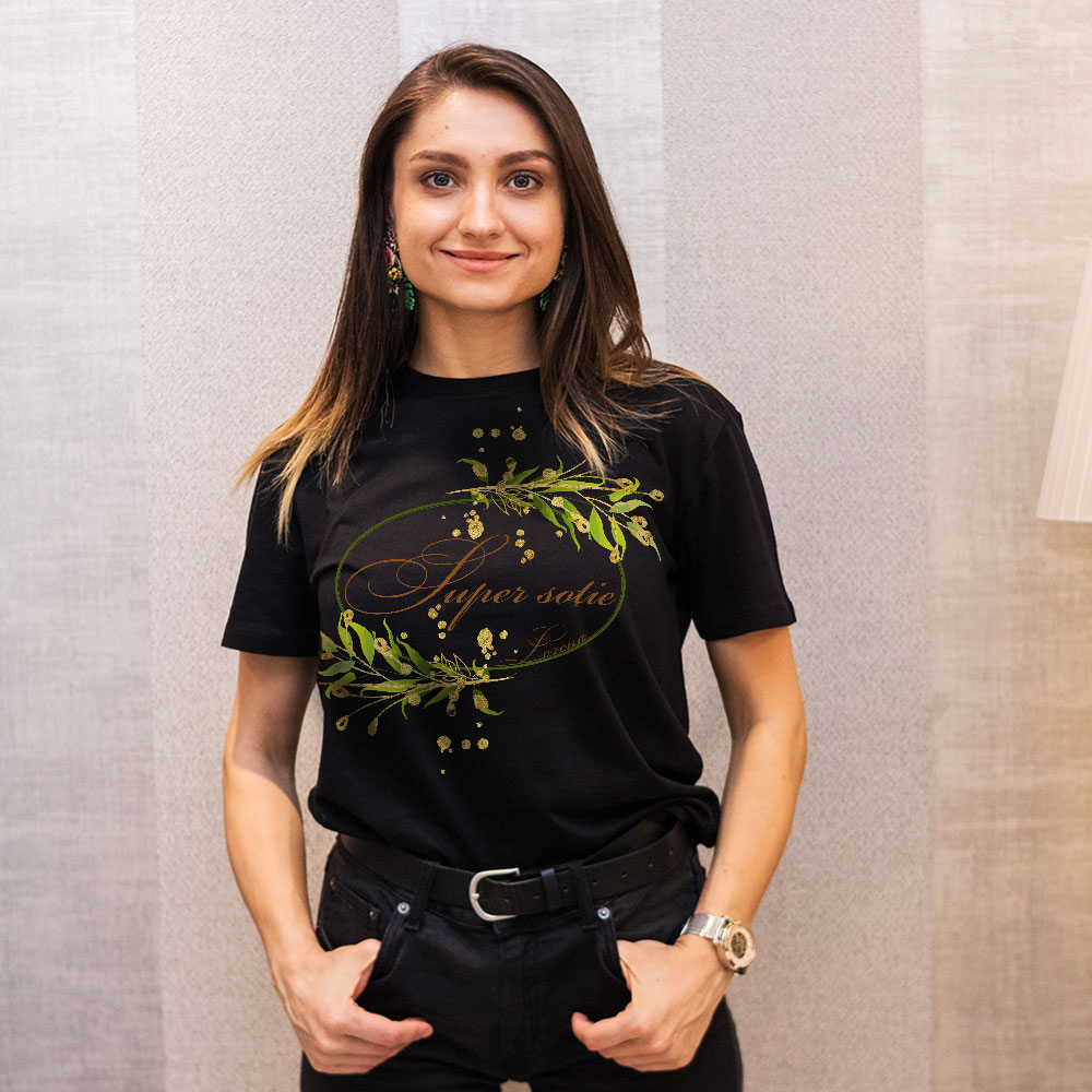 Tricou personalizat negru sotie