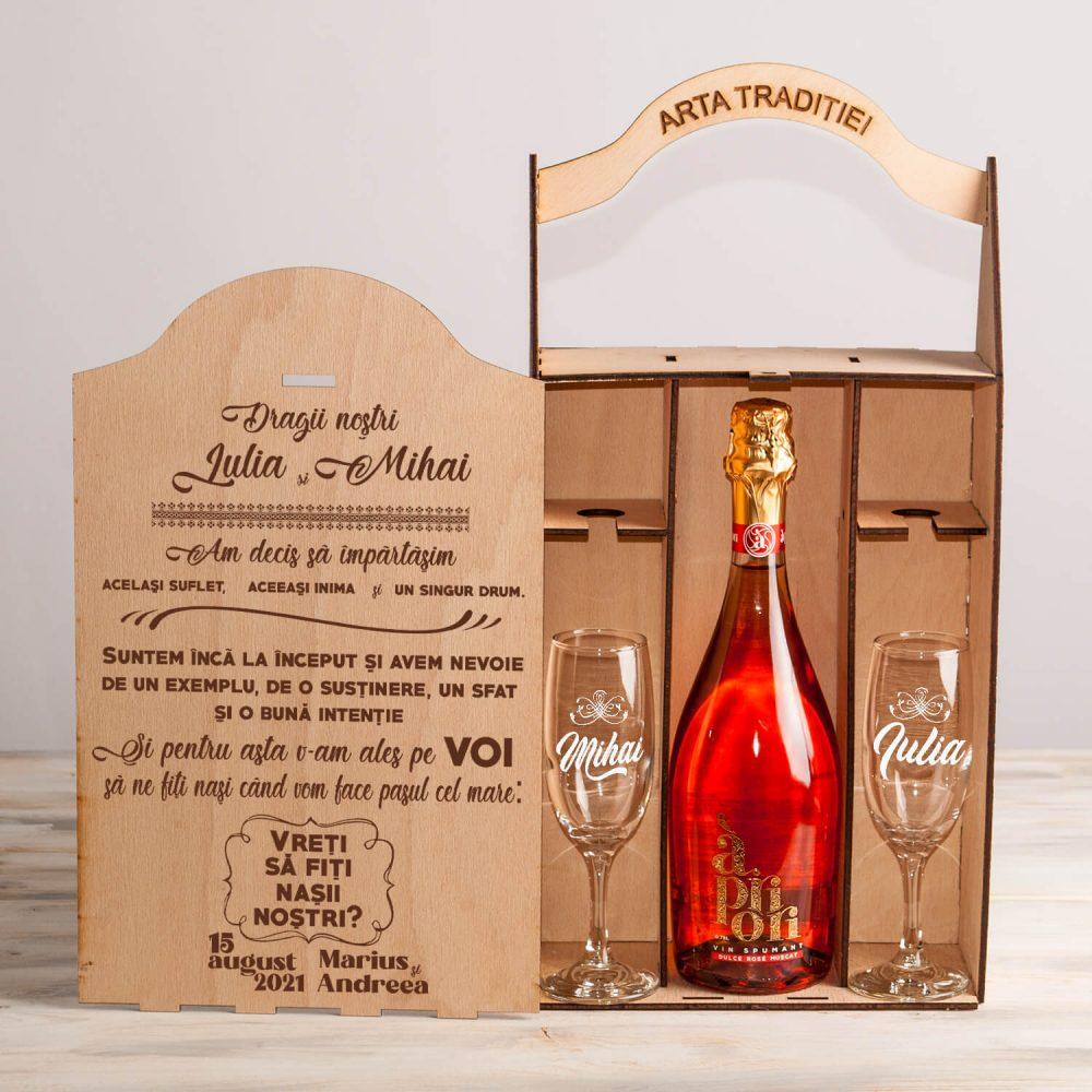 """Set nași cutie șampanie sau vin """"V-am ales pe voi"""""""