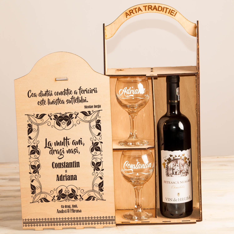 "Set cutie șampanie sau vin ""Nașii condiția fericirii"""