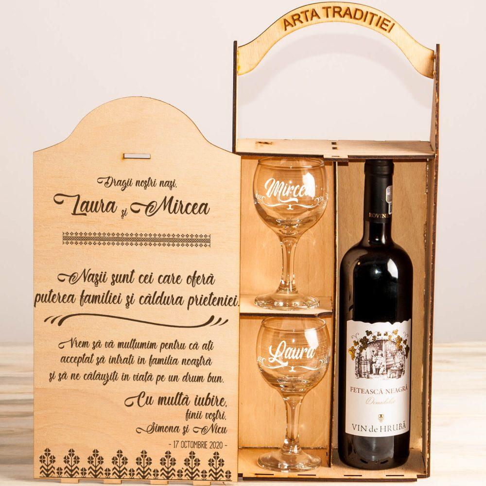 Nasii - familie si prieteni cutie sampanie cadouri personalizate nasi