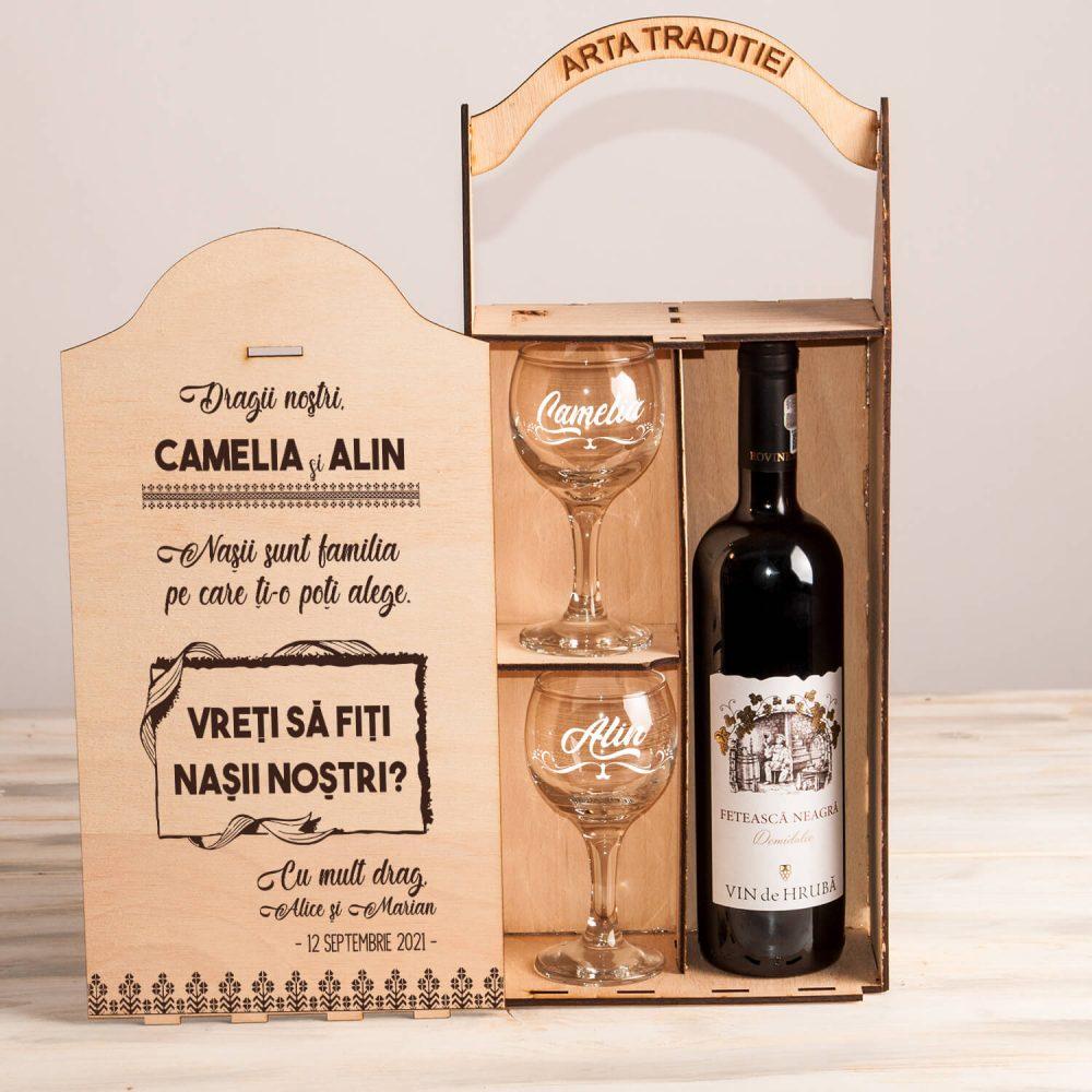 Nasii - vreti sa fiti nasii nostri cutie vin cadouri personalizate nasi