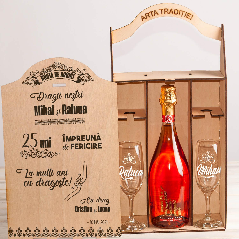 """Set cutie șampanie sau vin """"25 ani de Fericire"""""""