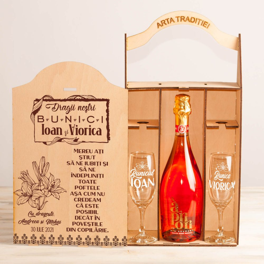 """Set cutie șampanie sau vin """"Dragi bunici"""""""