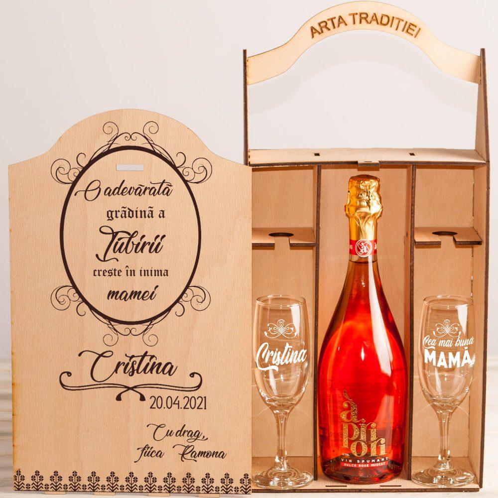 "Set cutie șampanie sau vin ""Inima mamei"""