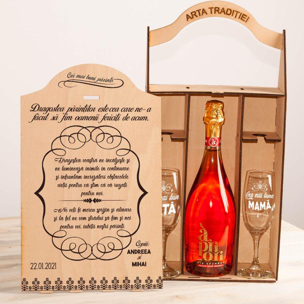 """Set cutie șampanie sau vin """"Cei mai buni părinți"""""""