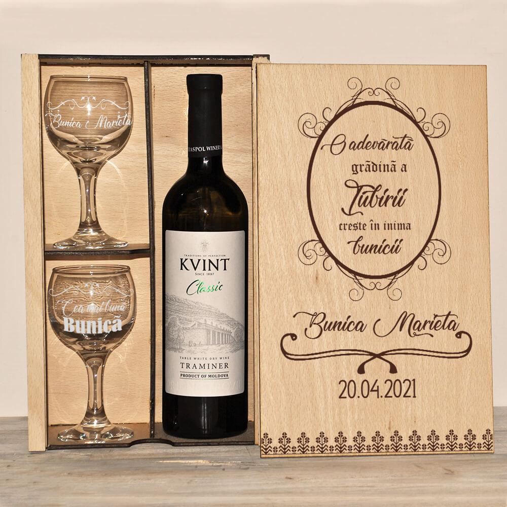 Set șampanie, vin sau whisky - zi de naștere - bunica - grădina iubirii