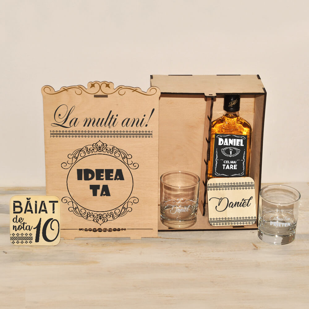 set cadou whiskey personalizat