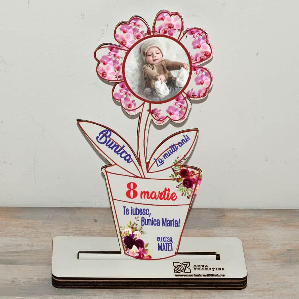 Trofeu floare-cadou bunica-te iubesc