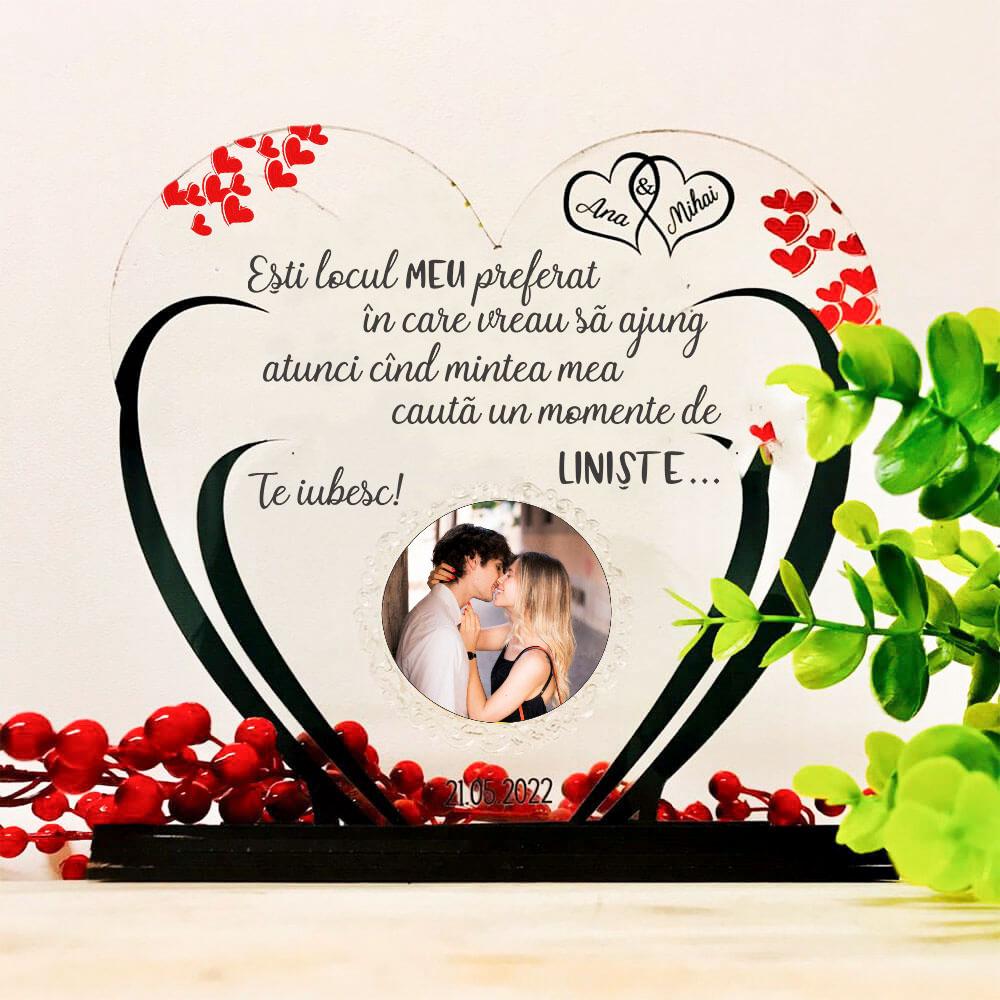 Trofeu inima din brațe - cadou soț sau iubit- Locul meu preferat