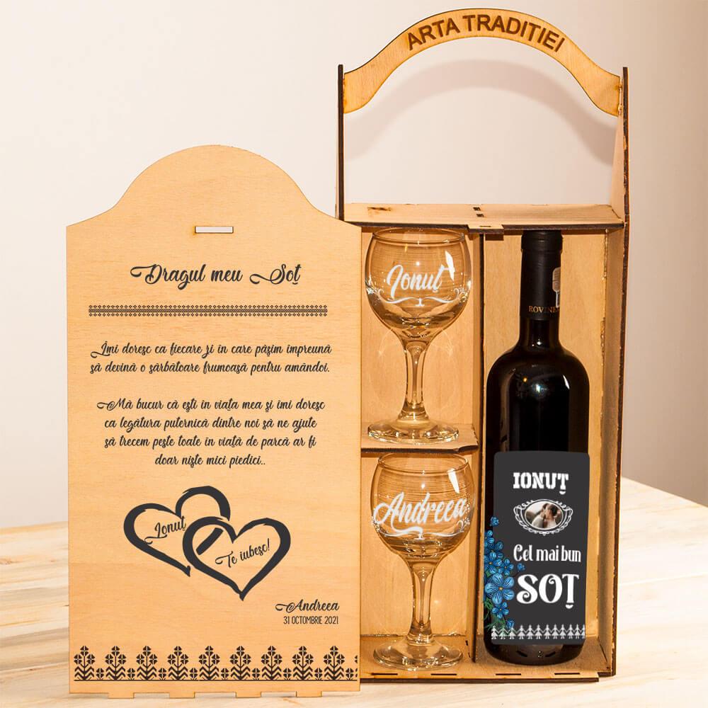 cutie personalizata vin rot sot iubit fiecare zi
