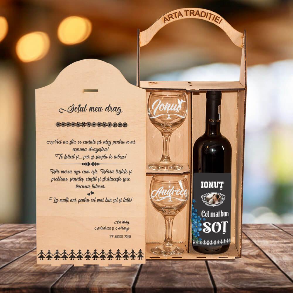 set cadou personalizat vin rot sot cel mai bun