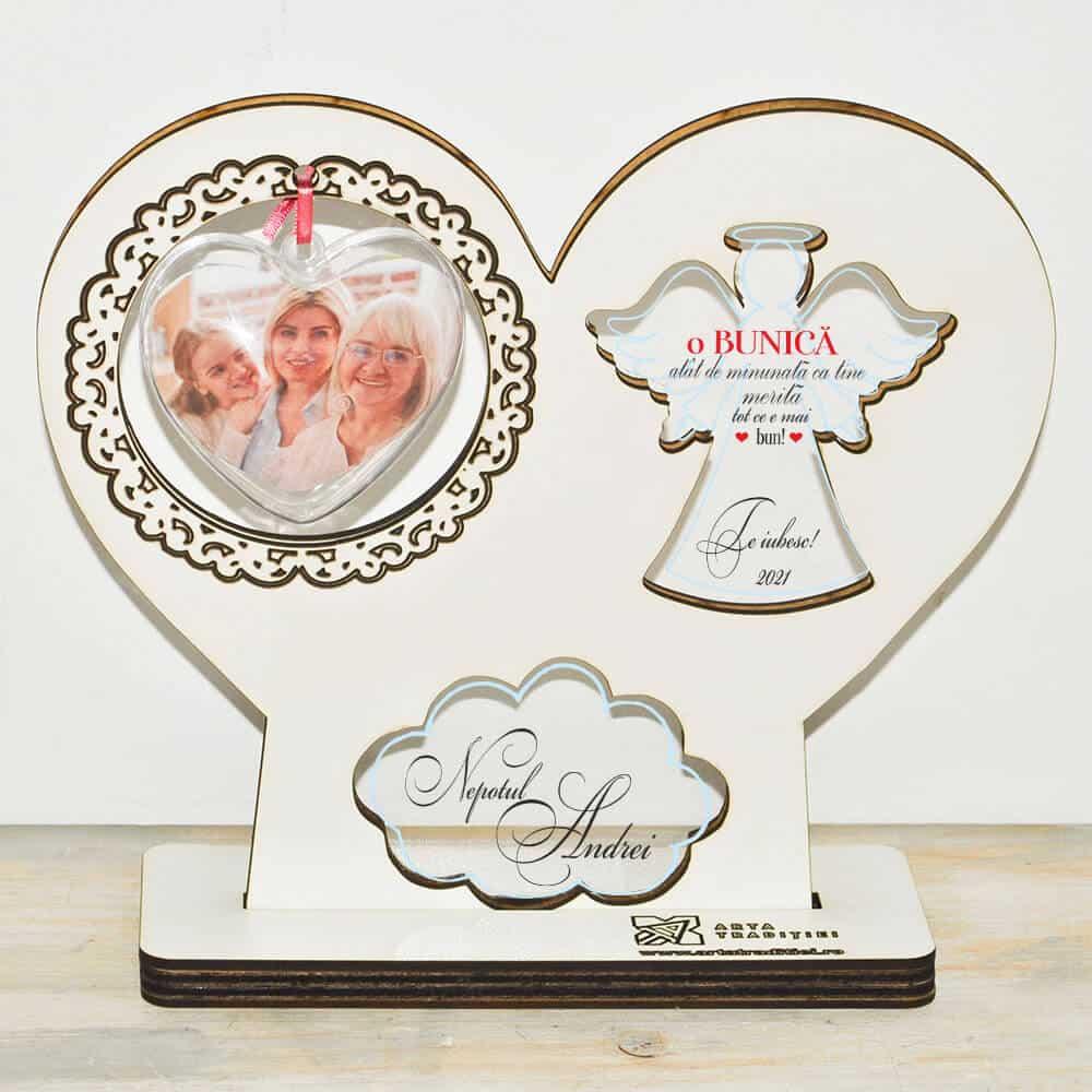 Trofeu înger și inimă - cadou bunică– Minunată