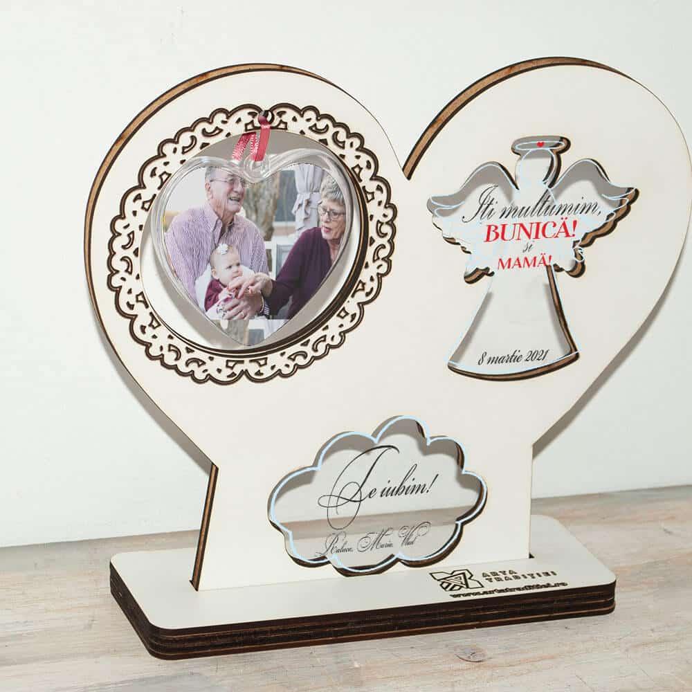 Trofeu înger și inimă - cadou bunică și mamă – Mulțumim