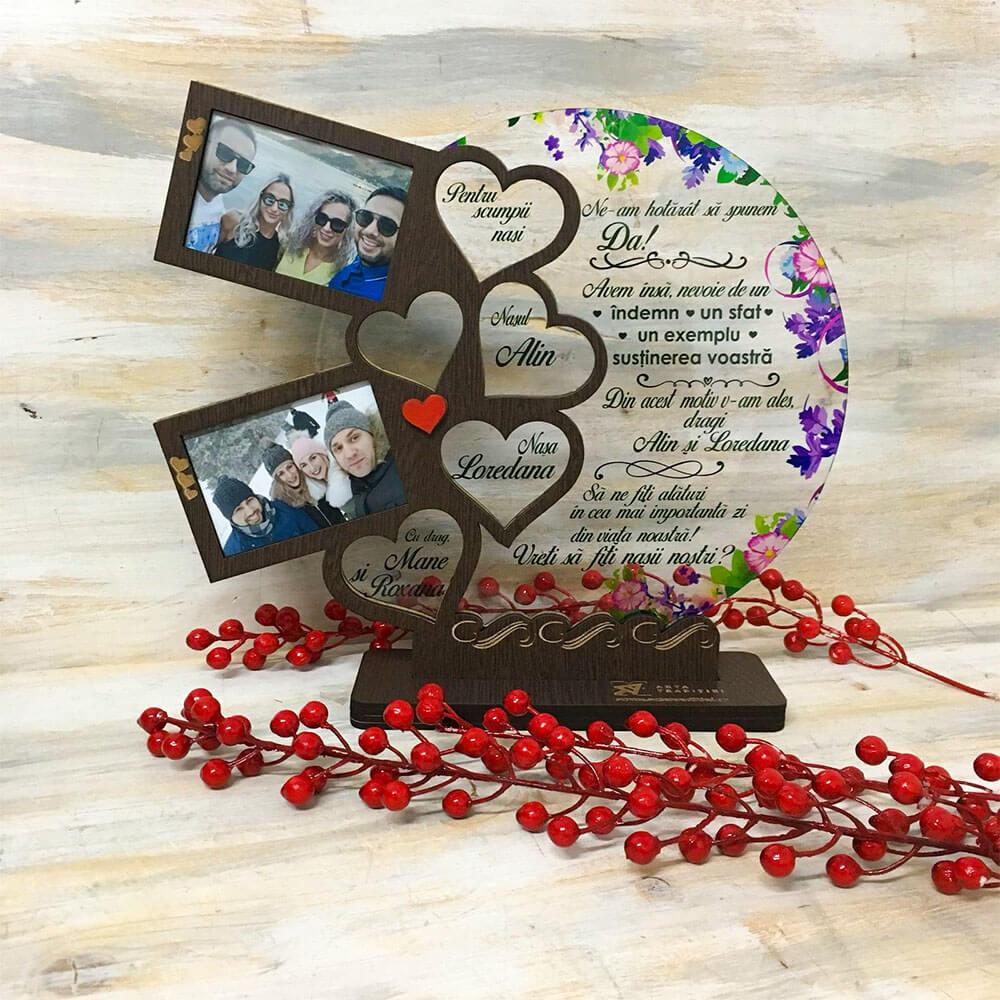 Trofeu Inimile familiei - cadou nași - Am spus Da
