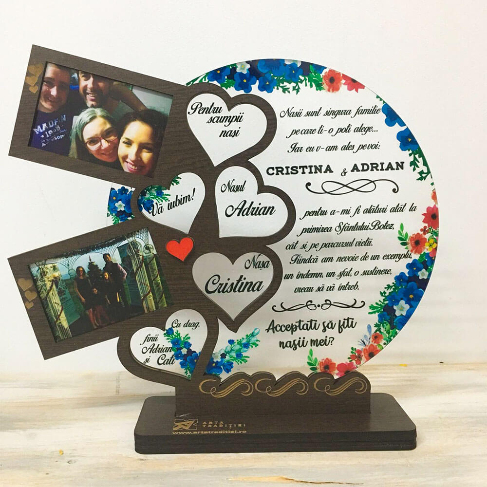 Trofeu Inimile familiei - cadou nași botez - Singura familie