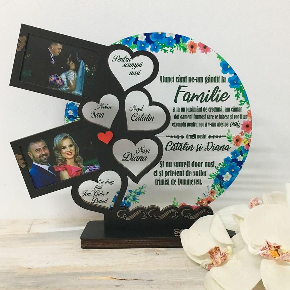 Trofeu Inimile familiei - cadou nași - Familie