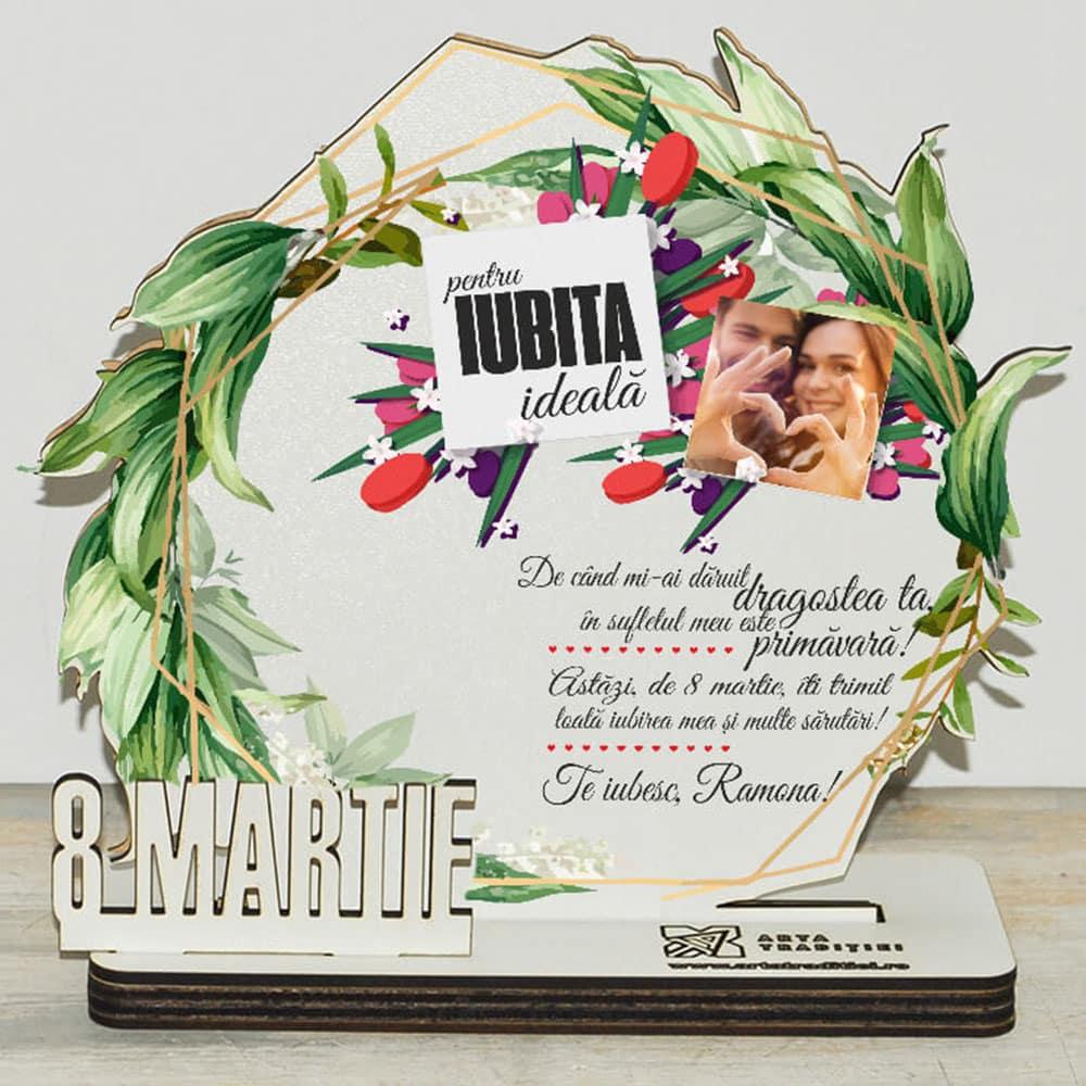 Trofeu rotund frunze - cadou iubită – 8 Martie