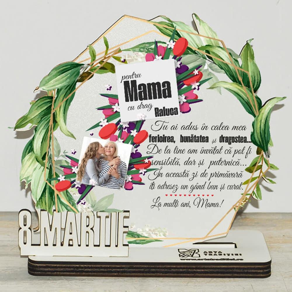 Trofeu rotund frunze - cadou mamă– 8 Martie