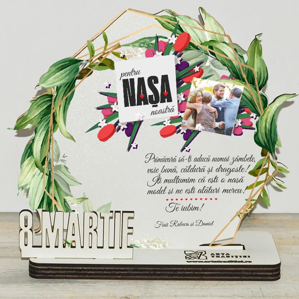 Trofeu rotund frunze - cadou nașă – 8 Martie