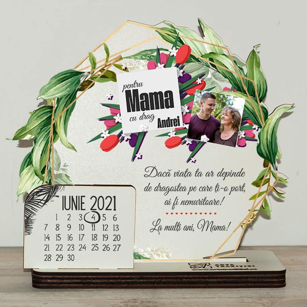 Trofeu rotund frunze - cadou aniversare mamă– La mulți ani