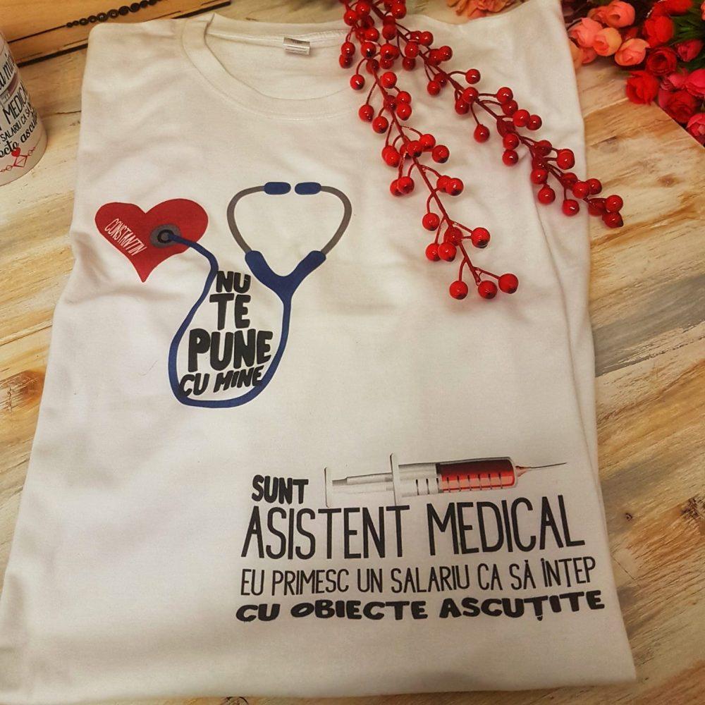 cadou personalizat asistent medical tricou cana
