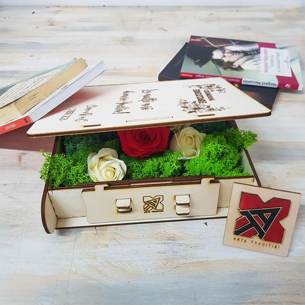 carte educatoare aranjament trandafir criogenat si trandafiri de sapun