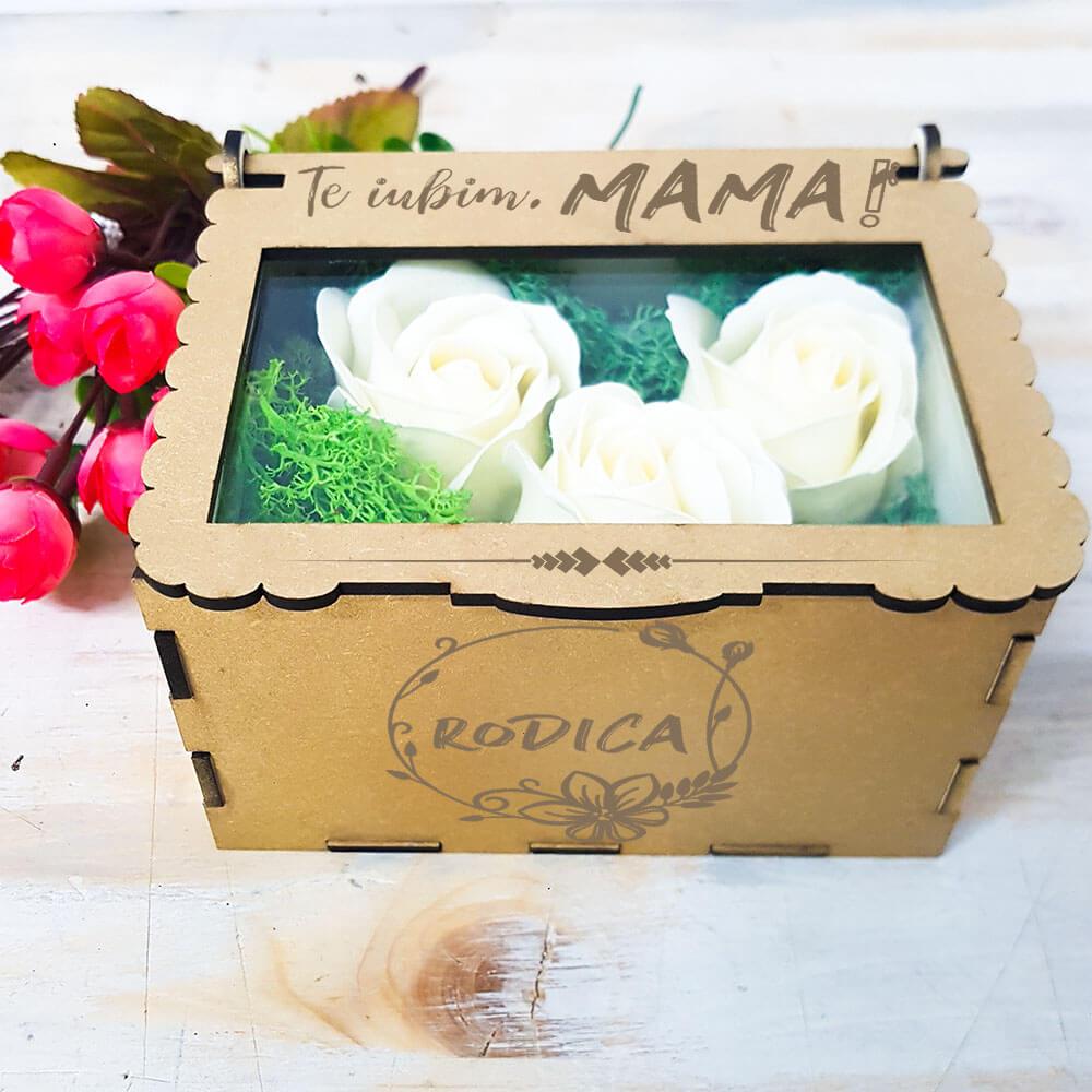 cutie cadou mama aranjament trandafir criogenat arta traditiei