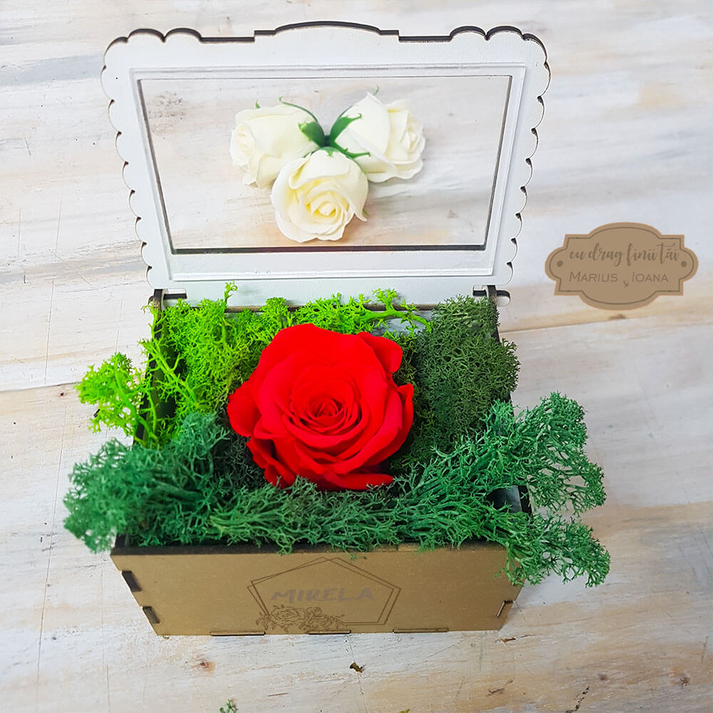 cutie cadou nasa aranjament trandafir criogenat arta traditiei