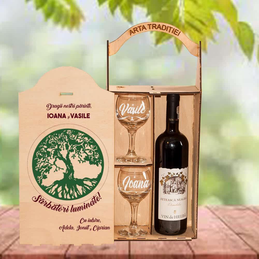 set cadou vin parinti paste