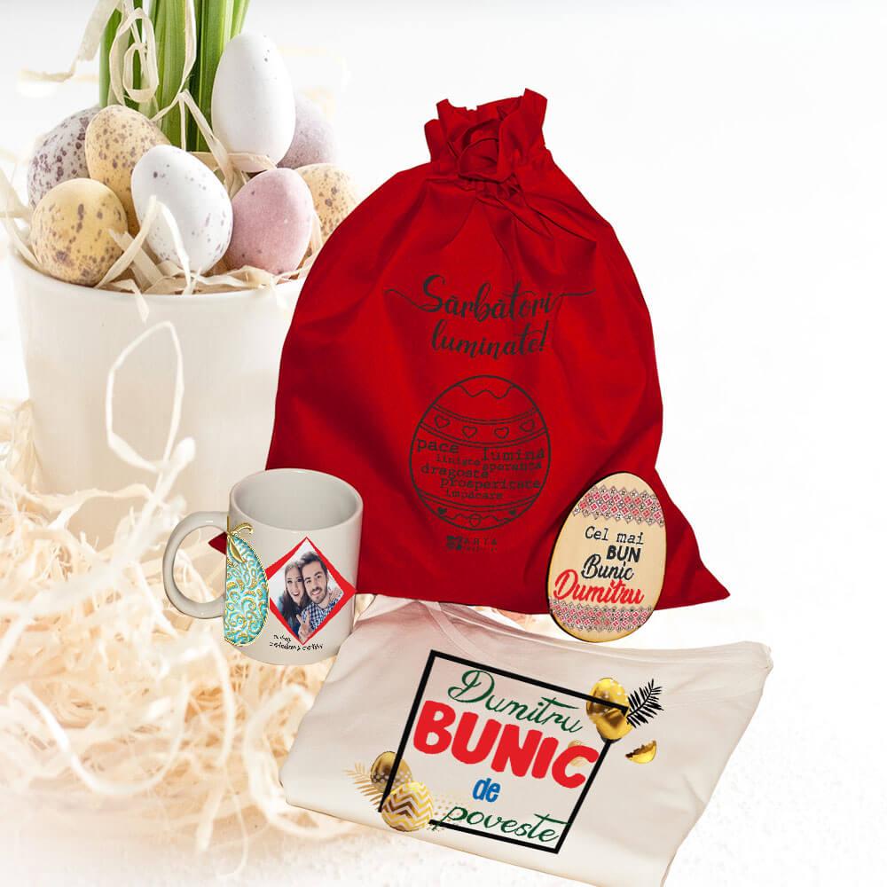 set personalizat bunic paste ou cana cutie tricou
