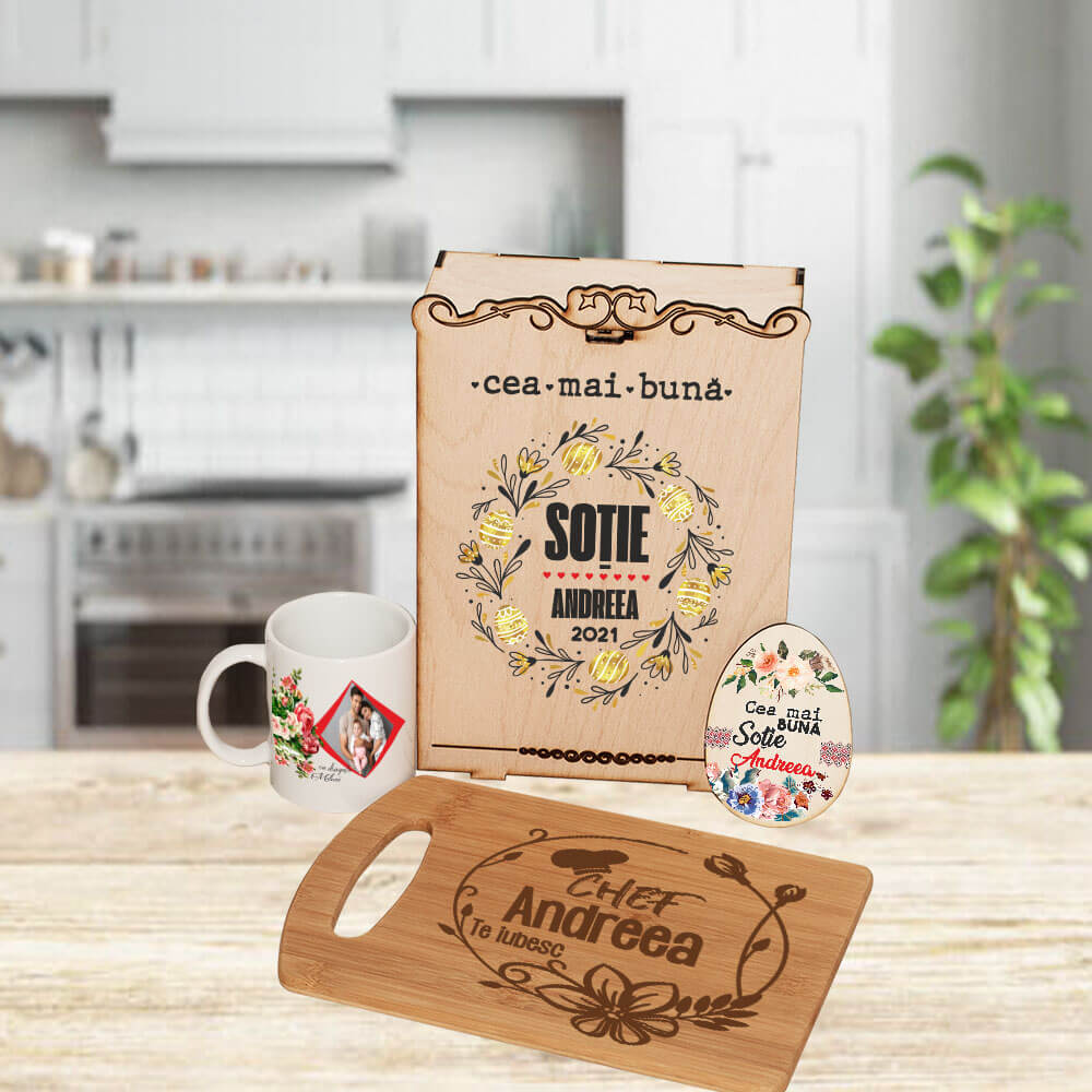 set personalizat sotie paste ou cana cutie tocator