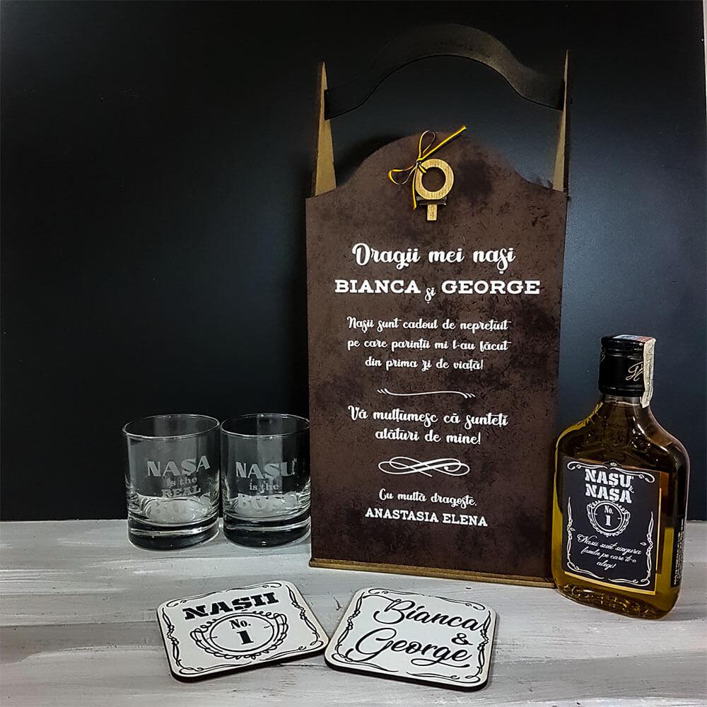 Set cadou personalizat whiskey nași